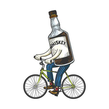 Bouteille de whisky monte vélo croquis gravure illustration vectorielle. Conception d'impression de vêtements de T-shirt. Imitation de style planche à gratter. Image dessinée à la main en noir et blanc.