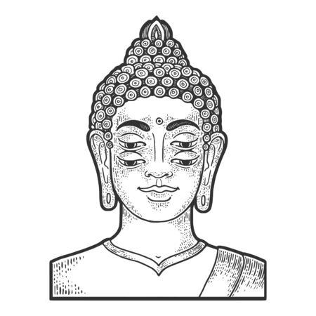 Four eyes buddha engraving vector illustration. T-shirt apparel print design. Scratch board style imitation. Black and white hand drawn image.