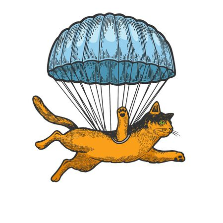 Cat animal flies with parachute as paratrooper sketch engraving vector illustration. T-shirt apparel print design. Scratch board style imitation. Black and white hand drawn image.
