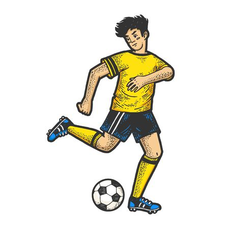 Soccer player with ball sketch engraving vector illustration. T-shirt apparel print design. Scratch board imitation. Black and white hand drawn image. Ilustracja