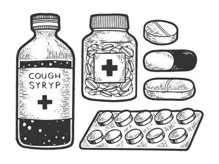 Medicine drug set sketch engraving vector illustration. T-shirt apparel print design. Scratch board style imitation. Black and white hand drawn image. Illusztráció
