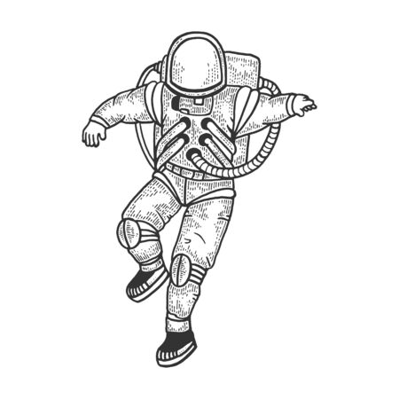 Astronaut in spacesuit sketch engraving vector illustration. T-shirt apparel print design. Scratch board style imitation. Black and white hand drawn image. Vetores