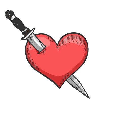 Heart symbol pierced with knife dagger weapon sketch engraving vector illustration. Romantic love lovesickness symbol. T-shirt apparel print design. Scratch board imitation.