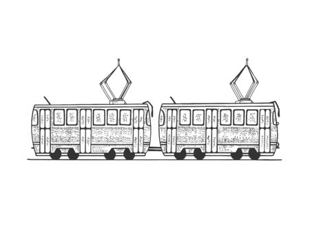 Tram public rail transport sketch engraving vector illustration. Scratch board style imitation. Black and white hand drawn image.