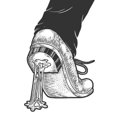 Kauwen kauwgom vast aan de schoen schets gravure vectorillustratie. T-shirt kleding print ontwerp. Imitatie in de stijl van een krasbord. Zwart-wit hand getekende afbeelding.