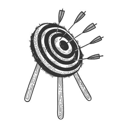 Target with arrows sketch engraving vector illustration. T-shirt apparel print design. Scratch board style imitation. Black and white hand drawn image. Illustration