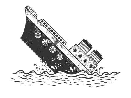Sinking steamboat ship sketch engraving vector illustration. T-shirt apparel print design. Scratch board style imitation. Hand drawn image.  イラスト・ベクター素材