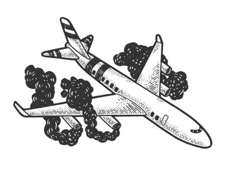 Airplane crash sketch engraving vector illustration. T-shirt apparel print design. Scratch board style imitation. Hand drawn image.