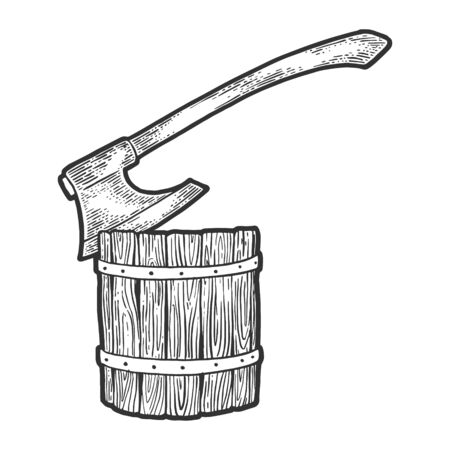 Executioner ax stuck in log sketch engraving vector illustration. T-shirt apparel print design. Scratch board style imitation. Black and white hand drawn image.