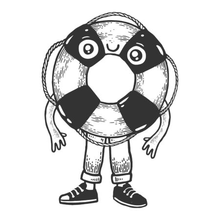 Life buoy cartoon character sketch engraving vector illustration. T-shirt apparel print design. Scratch board style imitation. Black and white hand drawn image.