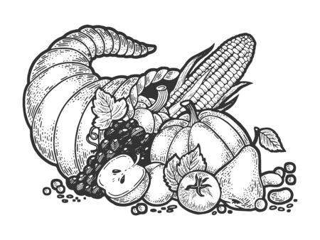 Corne d'abondance d'abondance croquis gravure illustration vectorielle. Conception d'impression de vêtements de T-shirt. Imitation de planche à gratter. Image dessinée à la main en noir et blanc. Vecteurs