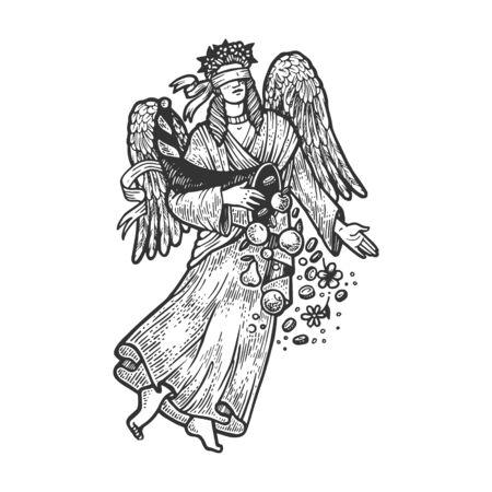 Fortuna ancient Greek goddess sketch engraving vector illustration. T-shirt apparel print design. Scratch board imitation. Black and white hand drawn image. Foto de archivo - 134385497