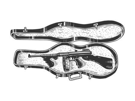 Thompson submachine gun in violin case sketch engraving vector illustration. T-shirt apparel print design. Scratch board style imitation. Black and white hand drawn image. Иллюстрация