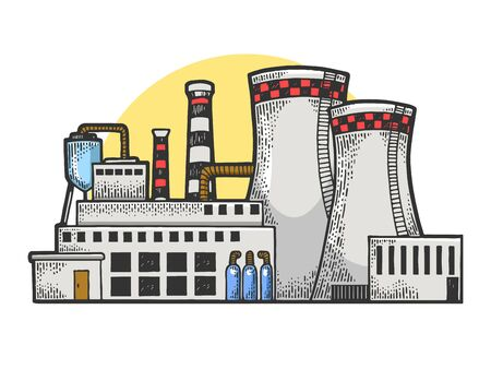 Nuclear power plant sketch engraving vector illustration. T-shirt apparel print design. Scratch board style imitation. Black and white hand drawn image.
