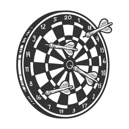 Darts with dartboard game sketch engraving vector illustration. T-shirt apparel print design. Scratch board style imitation. Black and white hand drawn image.