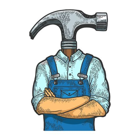 Hammer head construction worker carpenter sketch engraving vector illustration. T-shirt apparel print design. Scratch board style imitation. Black and white hand drawn image.