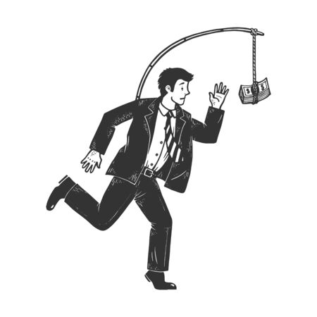 Businessman chasing money that is tied to him sketch engraving vector illustration. Metaphor of hedonic treadmill. T-shirt apparel print design. Scratch board style imitation.