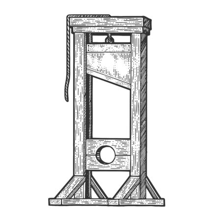 Guillotine medieval execution sketch engraving vector illustration. T-shirt apparel print design. Scratch board imitation. Black and white hand drawn image.