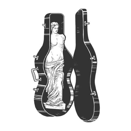 Venus de Milo ancient Greek statue in double bass case sketch engraving vector illustration. T-shirt apparel print design. Scratch board style imitation. Black and white hand drawn image. Иллюстрация