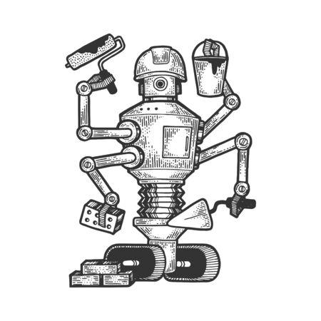 Robot builder sketch engraving vector illustration. T-shirt apparel print design. Scratch board style imitation. Black and white hand drawn image. Standard-Bild - 134750738