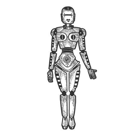 Robot woman sketch engraving vector illustration. T-shirt apparel print design. Scratch board style imitation. Black and white hand drawn image. Standard-Bild - 134750740
