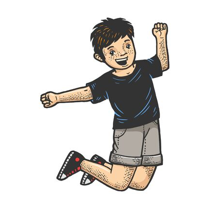 Happy jumping dancing child sketch engraving vector illustration. T-shirt apparel print design. Scratch board style imitation. Black and white hand drawn image. Standard-Bild - 134750743
