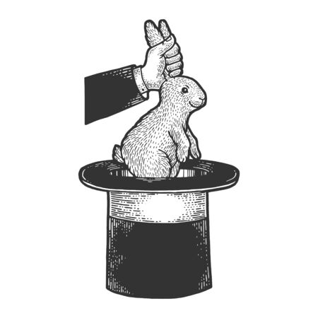 Circus illusionist takes rabbit out of the cylinder top hat sketch engraving vector illustration. T-shirt apparel print design. Scratch board style imitation. Black and white hand drawn image.