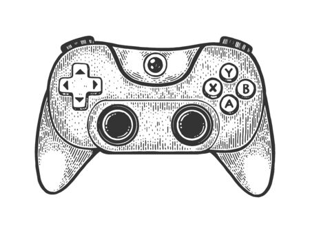 Gamepad controller sketch engraving vector illustration. T-shirt apparel print design. Scratch board style imitation. Black and white hand drawn image. 向量圖像