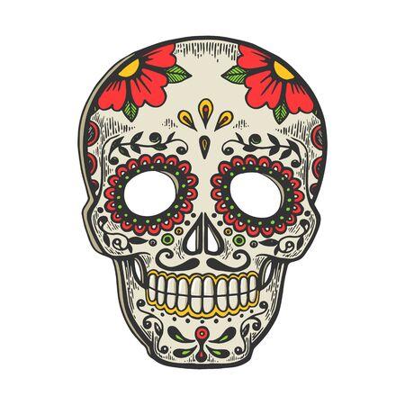 Maschera messicana giorno dei morti vintage schizzo incisione illustrazione vettoriale. Design con stampa di abbigliamento t-shirt. Imitazione di stile scratch board. Immagine disegnata a mano in bianco e nero. Vettoriali