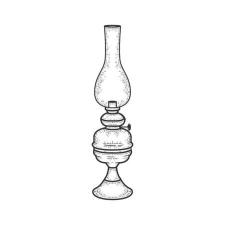 Kerosene lamp candle sketch engraving vector illustration. T-shirt apparel print design. Scratch board style imitation. Black and white hand drawn image.