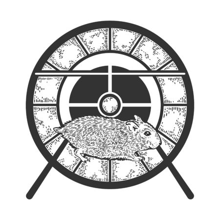 Hamster run in the wheel sketch engraving vector illustration. T-shirt apparel print design. Scratch board style imitation. Black and white hand drawn image. Illustration