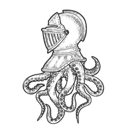 Octopus tentacles in medieval knight helmet sketch engraving vector illustration. T-shirt apparel print design. Scratch board imitation. Black and white hand drawn image. Vektoros illusztráció
