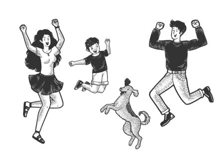 Happy jumping dancing family with dog sketch engraving vector illustration. T-shirt apparel print design. Scratch board style imitation. Black and white hand drawn image.