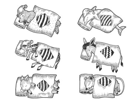 Cartoon funny sleeping animals set sketch engraving vector illustration. T-shirt apparel print design. Scratch board style imitation. Black and white hand drawn image.
