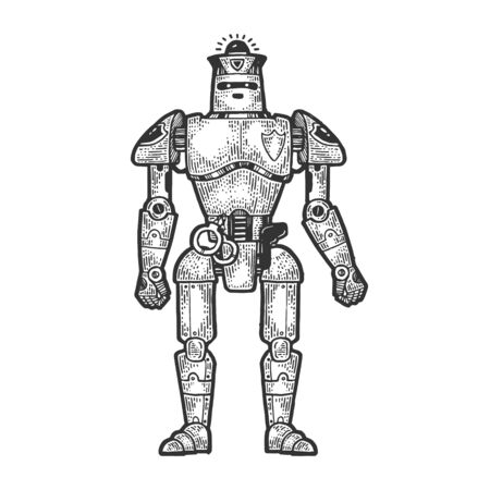 Robot cop policeman sketch engraving vector illustration. T-shirt apparel print design. Scratch board style imitation. Black and white hand drawn image. Stock Illustratie