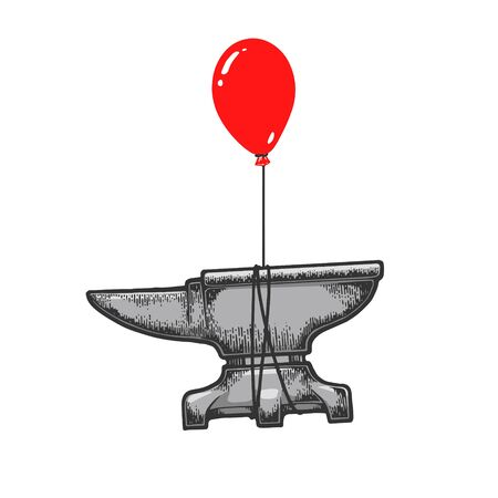 Blacksmith anvil is flying on air balloon sketch engraving vector illustration. T-shirt apparel print design. Scratch board style imitation. Black and white hand drawn image.