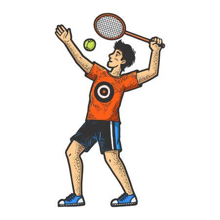 Tennis player with racket sketch engraving vector illustration. T-shirt apparel print design. Scratch board imitation. Black and white hand drawn image. Ilustração