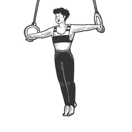 Gymnast performing iron cross on steady rings sketch engraving vector illustration. T-shirt apparel print design. Scratch board imitation. Black and white hand drawn image.