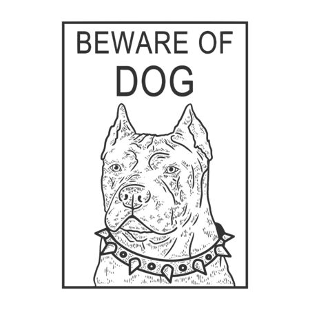Beware of angry dog plate sketch engraving vector illustration. T-shirt apparel print design. Scratch board style imitation. Black and white hand drawn image.
