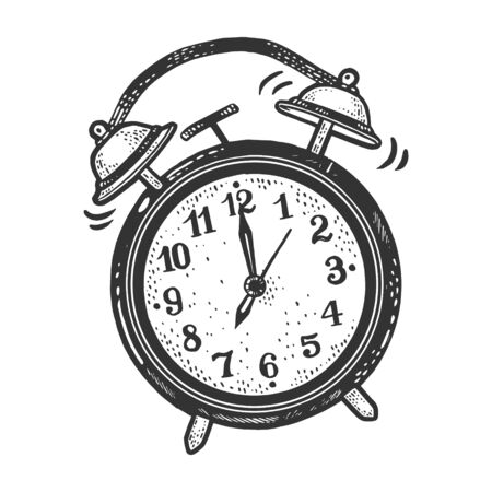 Alarm clock ring at morning sketch engraving vector illustration. T-shirt apparel print design. Scratch board imitation. Black and white hand drawn image.