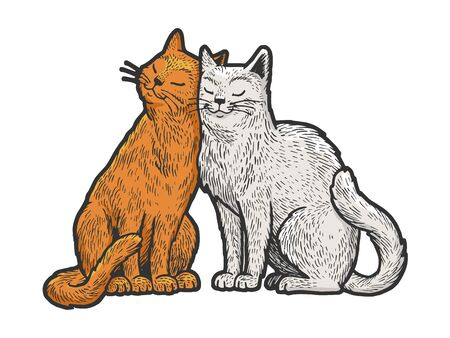 Cat love couple hug sketch engraving vector illustration. T-shirt apparel print design. Scratch board style imitation. Black and white hand drawn image. 向量圖像