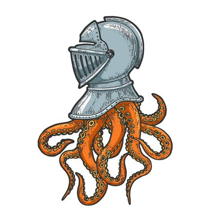 Octopus tentacles in medieval knight helmet sketch engraving vector illustration. T-shirt apparel print design. Scratch board imitation. Black and white hand drawn image.