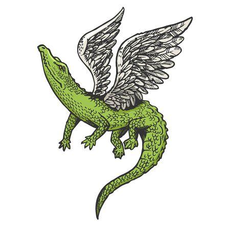 Fantastisches fabelhaftes fliegendes Krokodil mit Flügeltierskizzen-Gravur-Vektorillustration. T-Shirt-Bekleidungsdruckdesign. Nachahmung im Scratchboard-Stil. Handgezeichnetes Schwarz-Weiß-Bild. Vektorgrafik