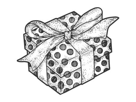 Gift box with ribbons and bow for christmas or birthday sketch engraving vector illustration. T-shirt apparel print design. Scratch board imitation. Black and white hand drawn image.