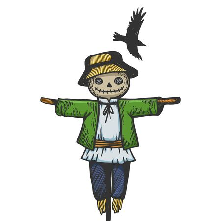 Farm rural scarecrow with flying crow bird sketch engraving vector illustration. T-shirt apparel print design. Scratch board style imitation. Black and white hand drawn image. Banque d'images - 135959662