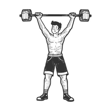 Athlete weightlifting barbell sketch engraving vector illustration. T-shirt apparel print design. Scratch board imitation. Black and white hand drawn image. Иллюстрация
