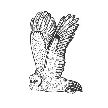 Flying owl bird animal sketch engraving vector illustration. T-shirt apparel print design. Scratch board style imitation. Hand drawn image.