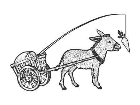 Donkey chasing carrot that is tied to him and drags cart with load sketch engraving vector illustration. T-shirt apparel print design. Scratch board style imitation. Black and white hand drawn image. Vektorové ilustrace