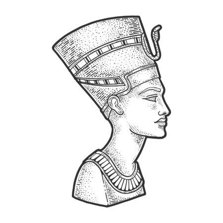 Nefertiti Ancient Egyptian Pharaoh statue  engraving illustration. T-shirt apparel print design. Scratch board imitation. Black and white hand drawn image.