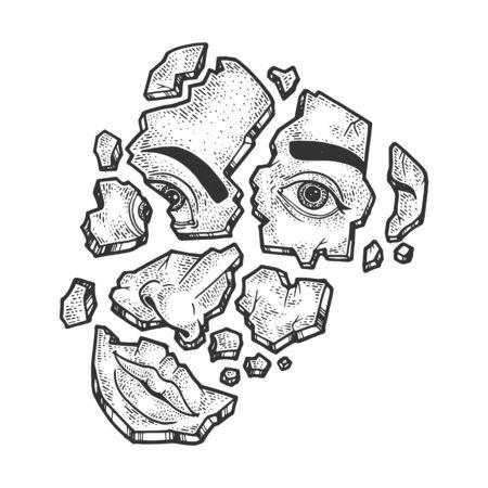 Zerschmettertes Gesicht gebrochen auf Fragmenten skizzieren Gravur-Vektor-Illustration. T-Shirt-Bekleidungsdruckdesign. Nachahmung im Scratchboard-Stil. Handgezeichnetes Schwarz-Weiß-Bild.